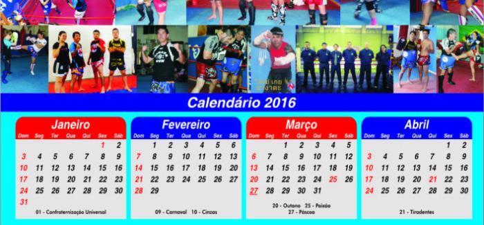 CALENDÁRIO 2016 NAGATA GYM